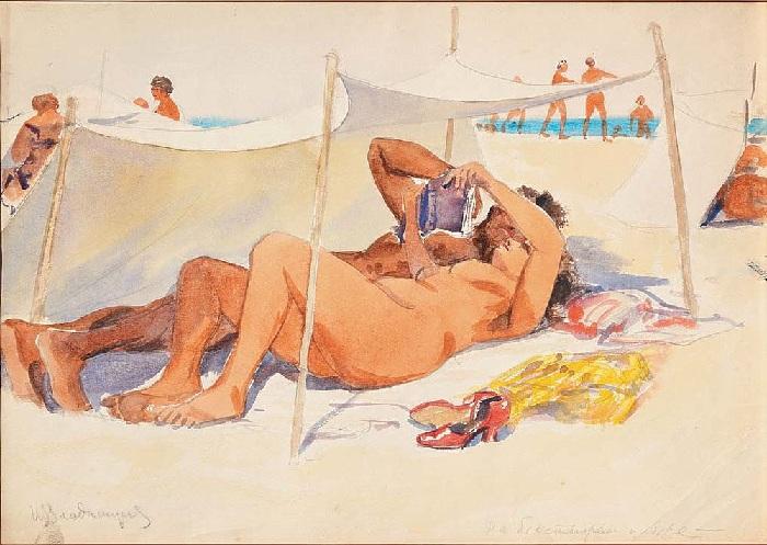 На бесстыжем пляже.(1930).  Автор: Иван Владимиров.