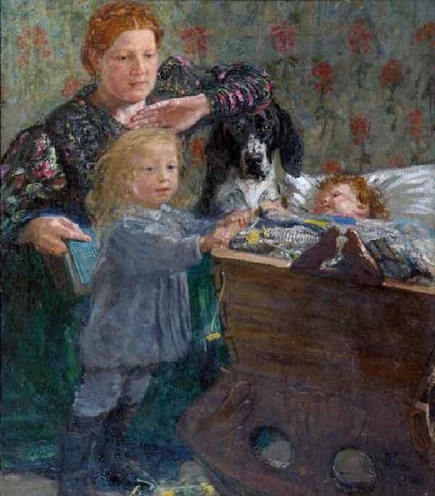 Жена художника с сыновьями. Автор: Юрий Репин.