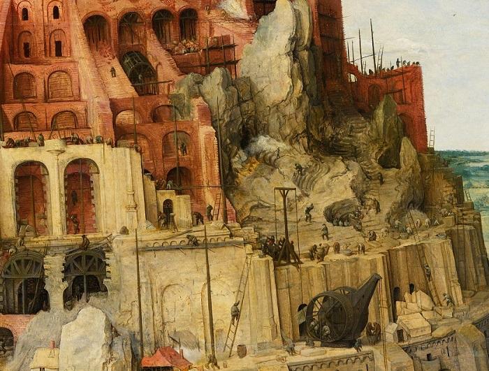 «Вавилонская башня». Фрагмент. (Художник показал развитие строительной техники по эпохам.)