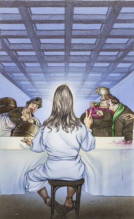Из серии «Жизнь Христа». Сатира от Gerhard Haderer.