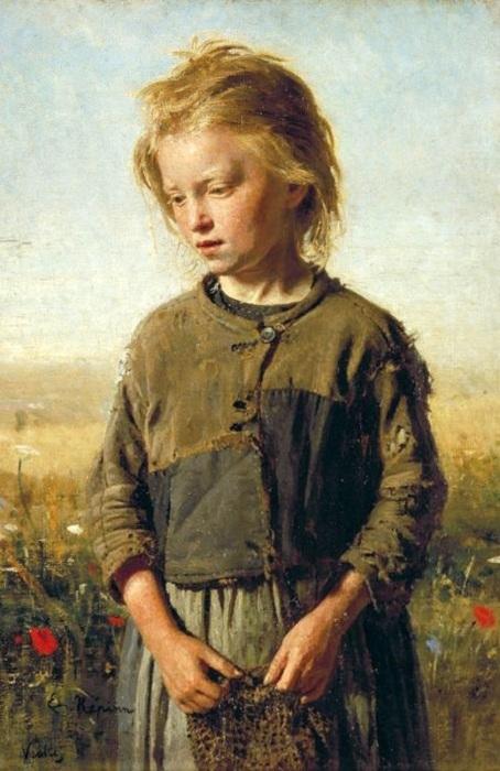 «Нищая. Девочка-рыбачка». (1874 год). Автор: Илья Репин.