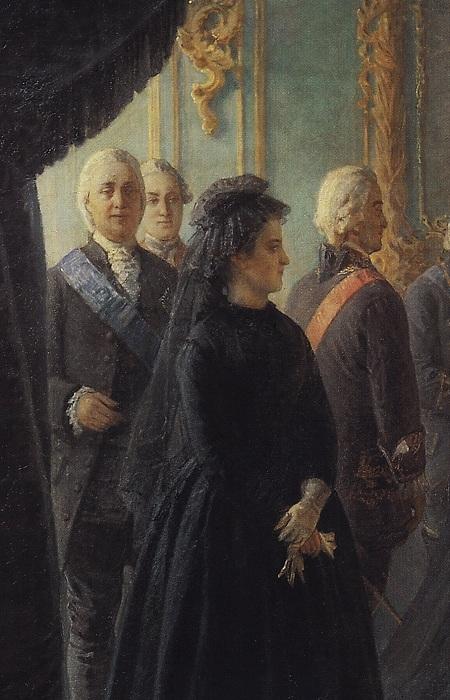 «Екатерина II у гроба императрицы Елизаветы». Фрагмент. Автор: Николай Ге