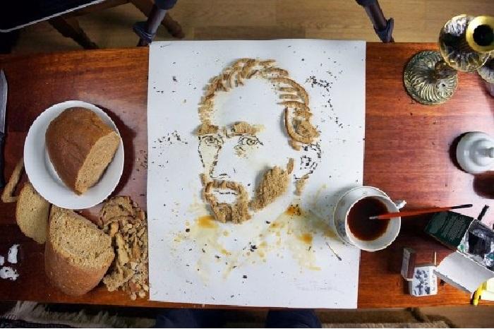 Портрет великого импрессиониста Ван Гога из хлеба и чая.