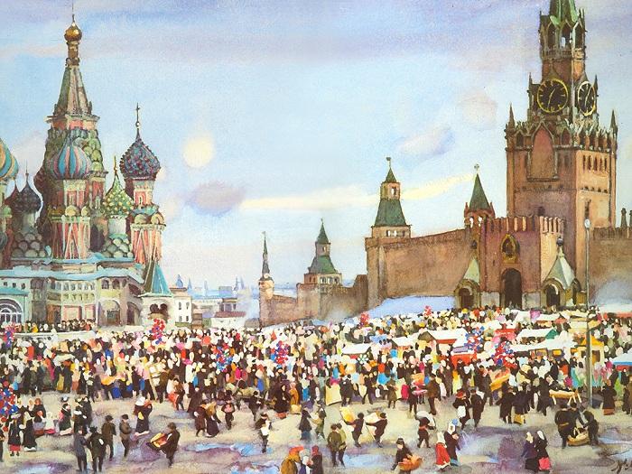 Вербный базар на Красной площади. (1916 год). Третьяковская галерея.Автор: Константин Юон.