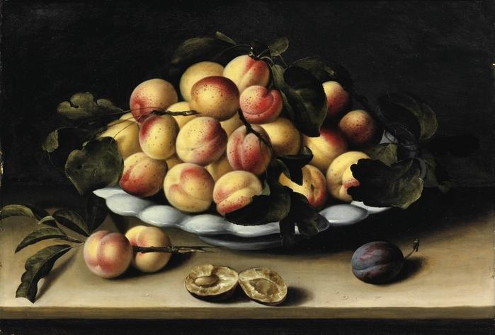 Натюрморт с блюдом абрикосов. 34.5 х 51.5 Дерево, масло. Частное собрание. Автор: Луиза Муайон.
