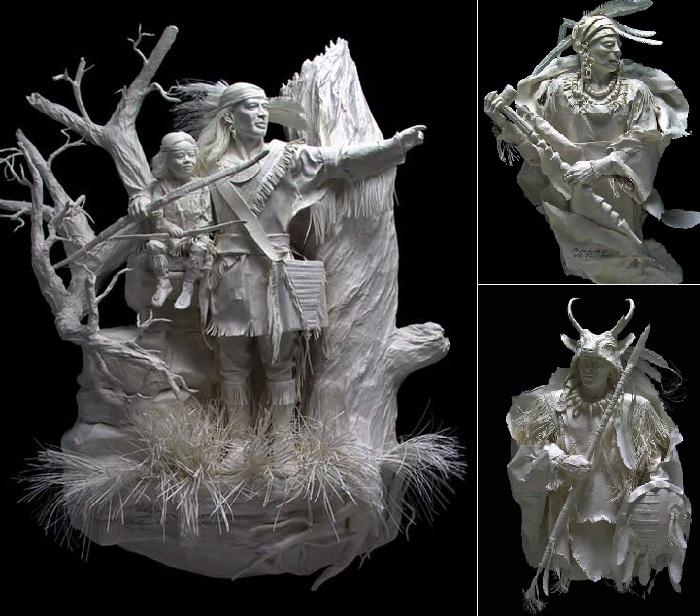 Бумажные скульптуры от Пэтти и Аллен Экман, посвященные индейскому племени чероки.