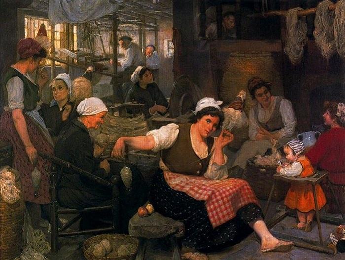 «Прядильщицы и ткачихи». (1917 год). Автор: Сальвадор Диас Игнасио Руис де Олано.