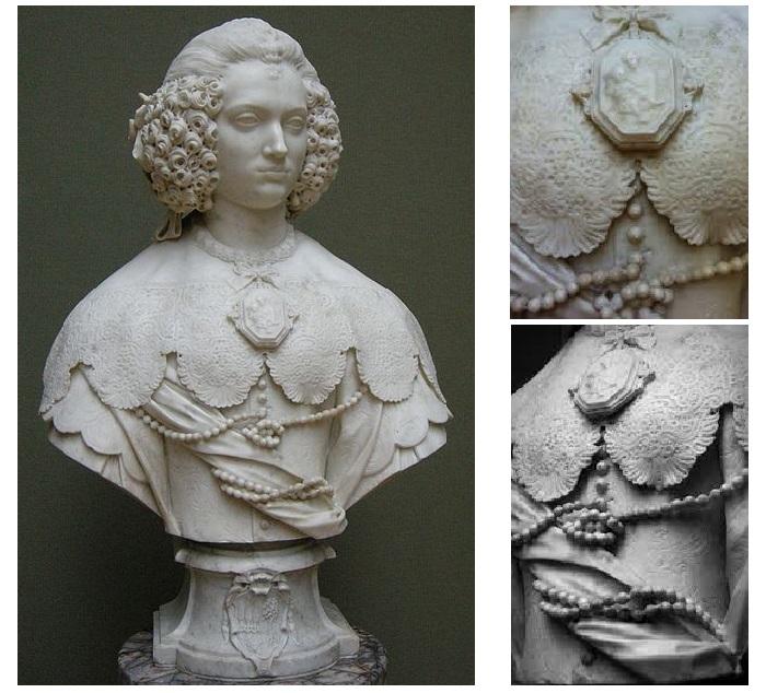 Бюст «Мария Капраника» (Bust of Maria Cerri Capranica) 1637, Музей Гетти , Калифорния . Фрагменты. Скульптор: Джулиано Финелли.