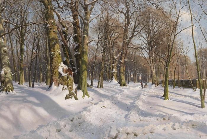 Зимний пейзаж. Автор: Педер Мёрк Мёнстед.