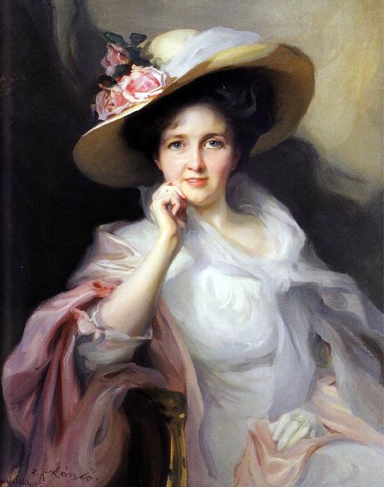 «Дама в шляпе с розами». (1903 год). Частное собрание. Автор: Филипп Алексис де Ласло.