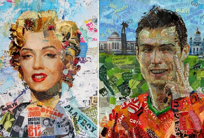 «Мэрлин Монро». /  «Криштиану Роналду». Портреты в стиле APP.ART от Андрея Шатилова.