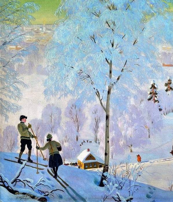 «Лыжники». Фрагмент.