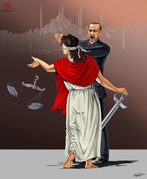 Фемида в карикатурах Гюндуза Агаева.