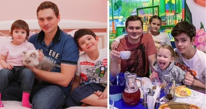 Александр Пашков со своими детьми.