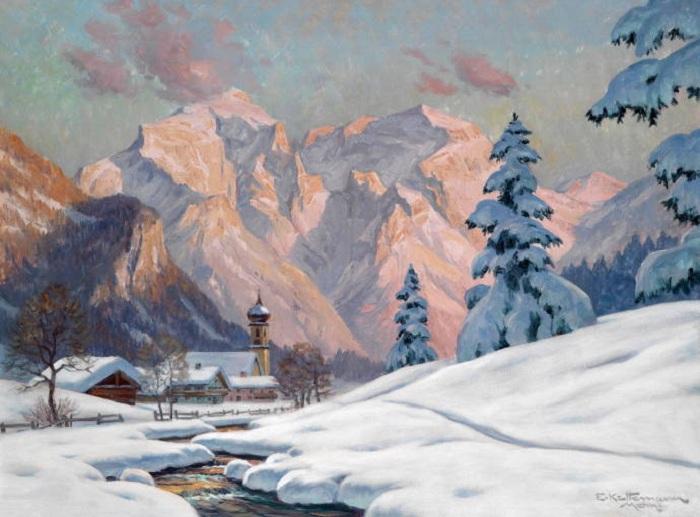 Зимний вечер в Бишофсвизене, Берхтесгаден. Автор: Эрвин Кеттерманн.