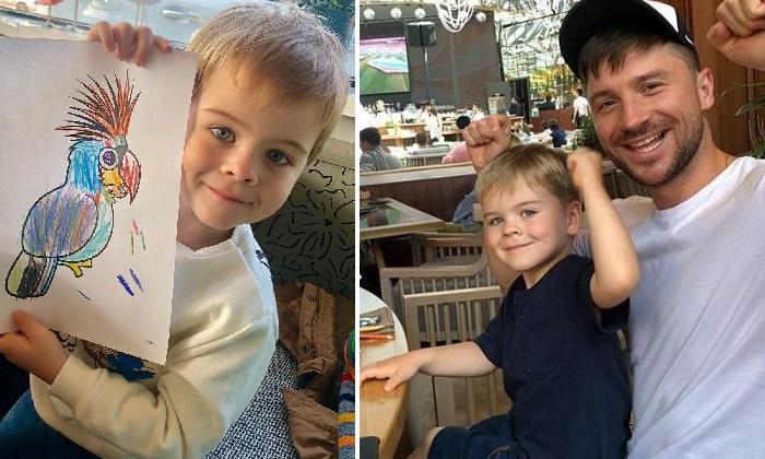 Сергей Лазарев с сыном Никитой. «Мое чудо! мой смысл! Теперь мы художники», — трогательно подписал снимок Лазарев-старший.  Фото: bezformata.com.