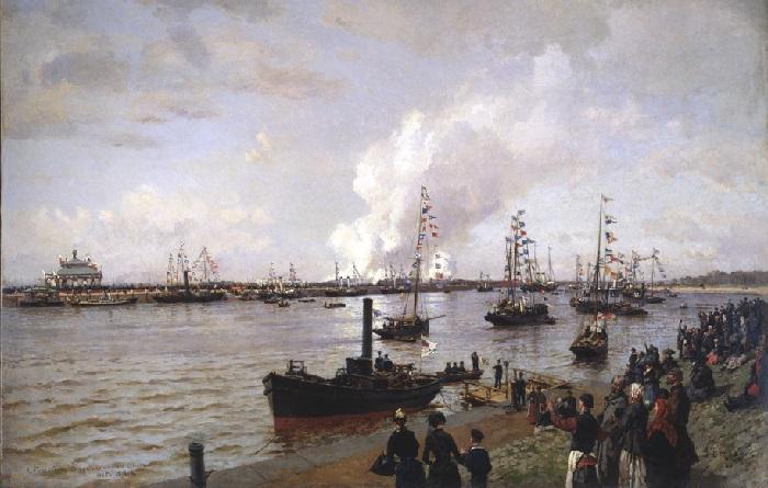 «Открытие морского канала в Санкт-Петербурге в 1885 году», (1886) — Центральный военно-морской музей. Автор: Александр Беггров.
