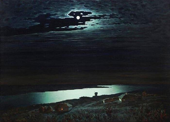 «Лунная ночь на Днепре». (1880год). Автор: Архип Куинджи.