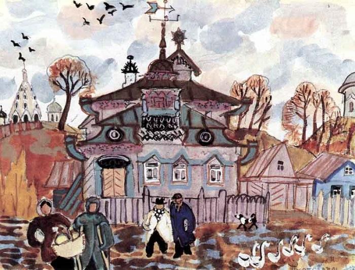 «Переславль-Залесский. Гуси», 1957. Живопись Татьяны Мавриной.