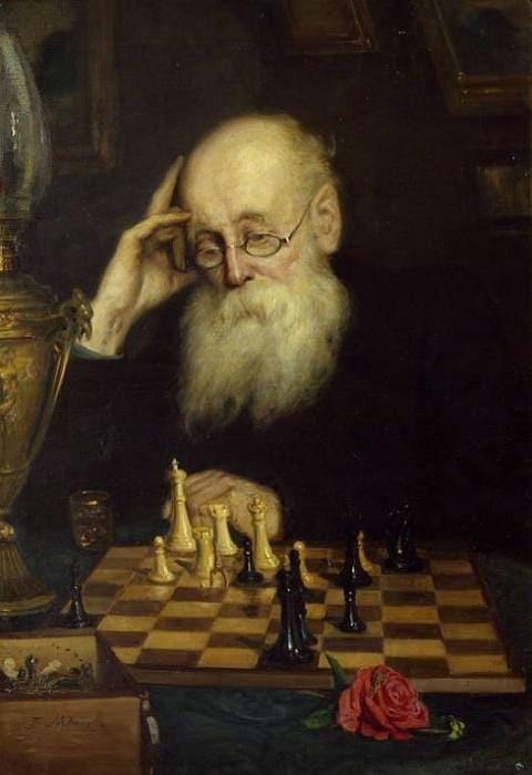 Сам с собою, или Игра в шахматы. 1907 год. Музей шахмат. Автор: Г.Г. Мясоедов.
