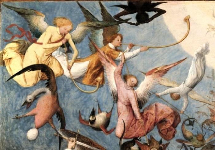 «Падение мятежных ангелов». Фрагмент. (Светлые ангелы трубят гимн победы в божественные трубы.)