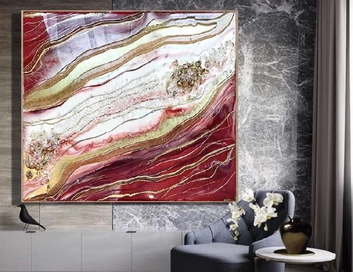 Современная живопись Resin art в интерьере.