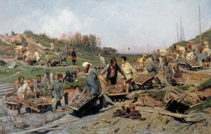 «Ремонтные работы на железной дороге» (1874 год). Автор: К.А.Савицкий.