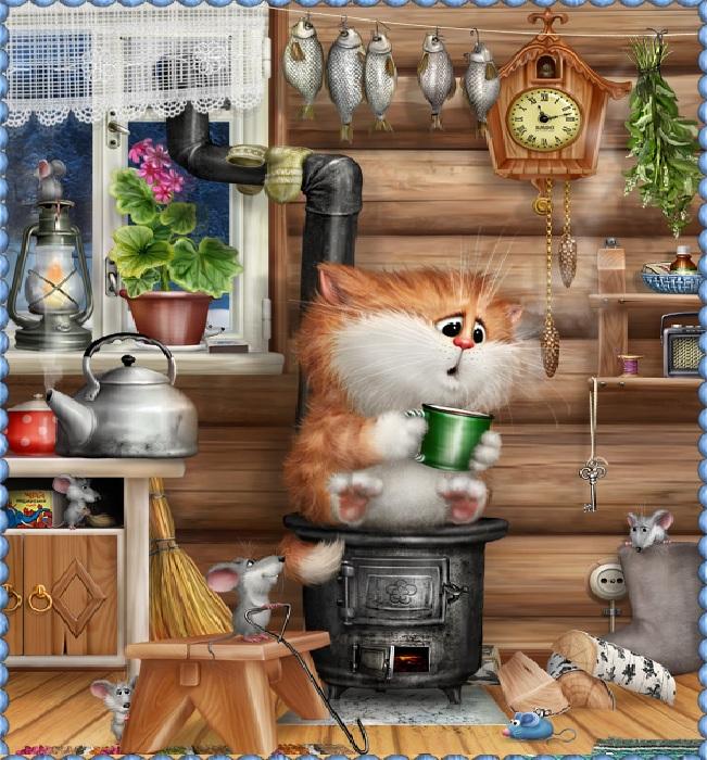 Кот на печке. Кошачий арт от Алексея Долотова.