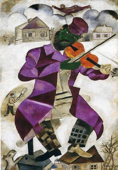 Зеленый скрипач - Марк Захарович Шагал. 1923-1924. Холст, масло.108,6 x 198 см