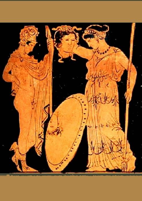 Античная ваза. «Персей передает Афине голову Медузы горгоны».