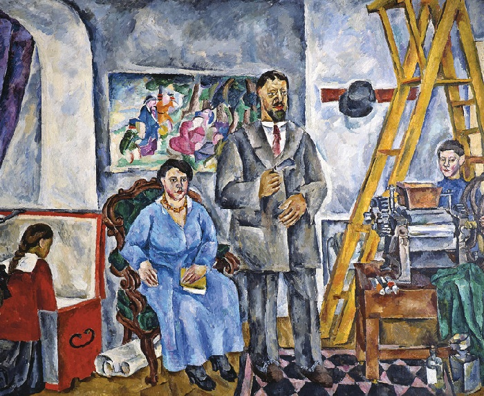 Семейный портрет в мастерской. 1917 год. Автор: Петр Петрович Кончаловский.