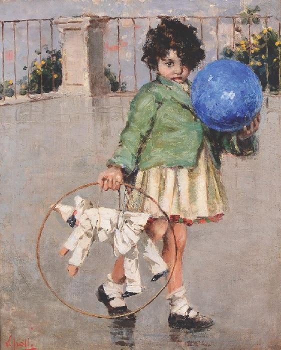 Девочка с мячом и куклой (Girl with a ball and Puppet). Автор: Винченцо Иролли.| Фото: gallerix.ru.