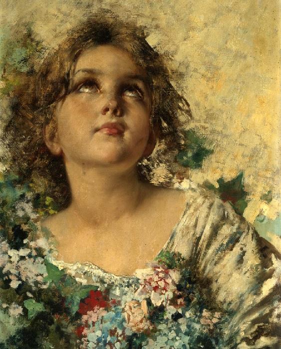 Девочка с цветами. (Girl with Flowers).Автор: Винченцо Иролли.| Фото: gallerix.ru.