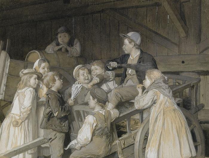 Август Мальмстрем (1829-1901). Швеция. Поющие дети в конюшне.