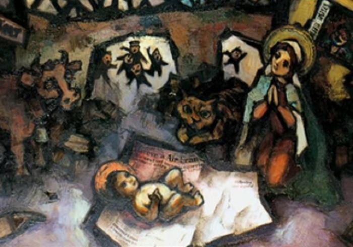 Библейский сюжет. Бегство в Египет. Автор:  / Оскар Рабин.