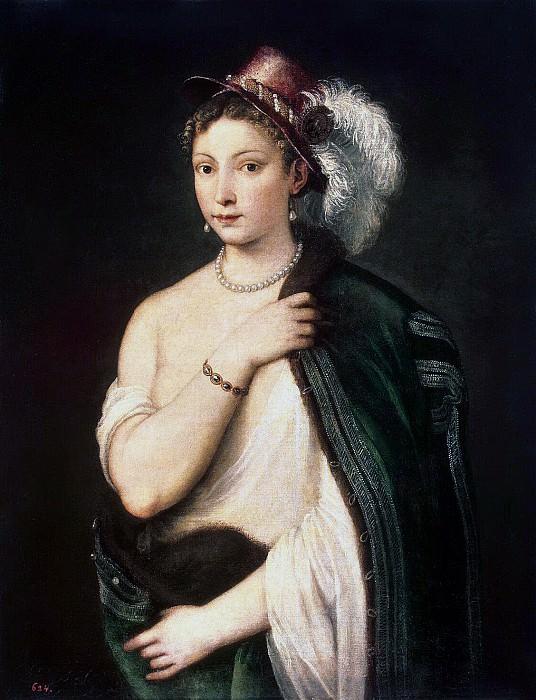 Портрет молодой женщины в шляпе с пером. (Около 1536 г.) Холст, масло. 96 x 75 см. Эрмитаж, Санкт-Петербург. Автор: Тициано Вечеллио.