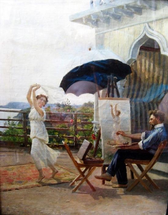 «Автор и модель», (1912 год). Автопортрет художника за работой. Холст, масло. Частное собрание. Автор: Николай Бодаревский.