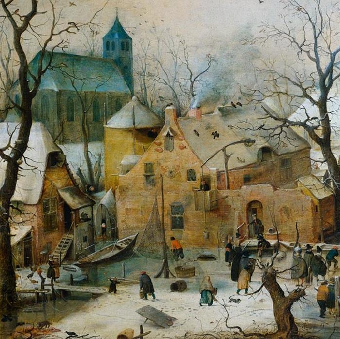 Зимний пейзаж с жителями, катающимися на льду. (Фрагмент 1)