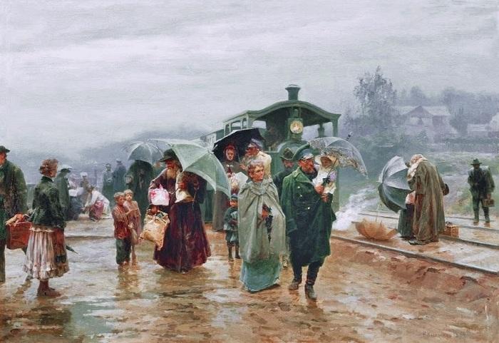 «Трамвай пришел». (1894 год). Автор: Николай Касаткин.