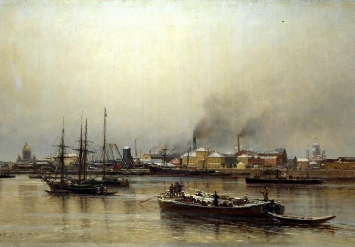 «Набережная Невы», 1876 Государственный Русский музей, Санкт-Петербург. Автор: Александр Беггров.