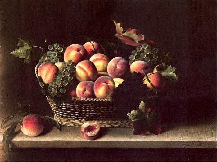 Корзина с персиками и виноградом. Автор: Луиза Муайон.