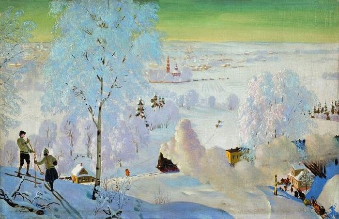 «Лыжники». 1919 год. Художник Б. М. Кустодиев.
