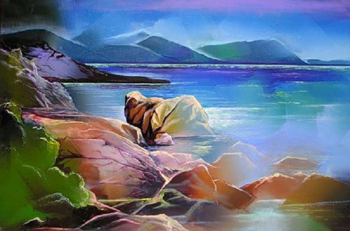 Каменный берег. Живопись от Гиви Сипрошвили.