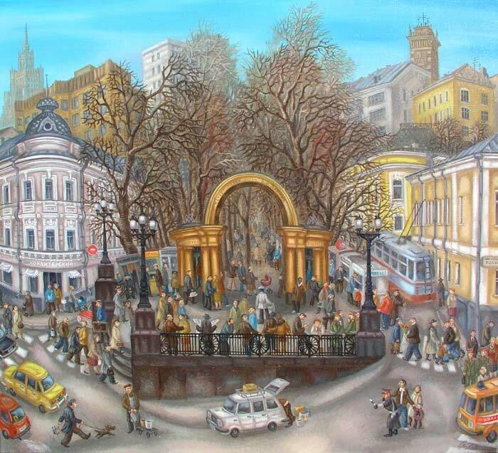 «Кропоткинская». 90х100см. Холст-масло. 1983 год. Автор: Сергей Волков.