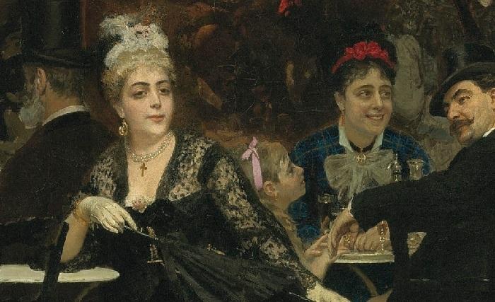 «Парижское кафе» (1875). Фрагмент. Автор: Илья Репин.