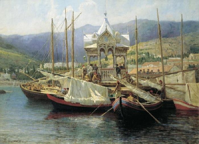 Пристань в Ялте. 1890 год. Владимиро-Суздальский музей-заповедник. Автор: Г.Г. Мясоедов.
