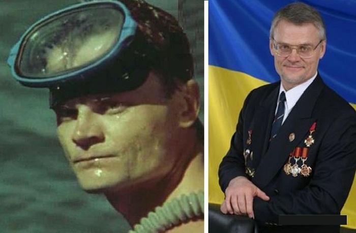 Пётр Шерекин в роли диверсанта-аквалангиста.