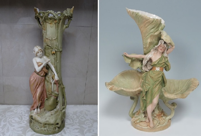 Старинные богемские вазы. Фарфор Royal Dux. | Фото: expertissim.com.