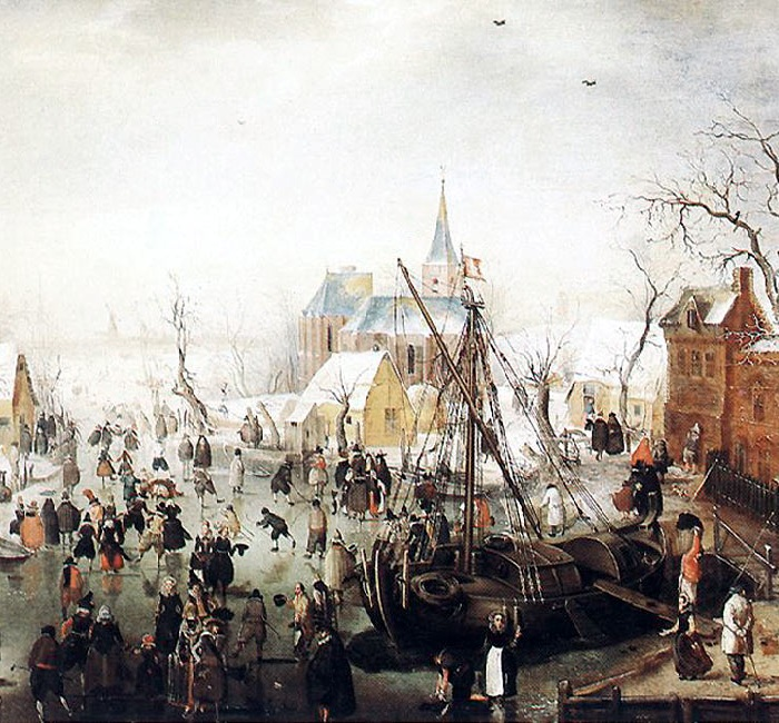Зимой в Айзельмайден, 1613 год. Размер картины 24 x 35 см, дерево, масло.(На картине быт и праздность населения небольшого городка Айзельмайден на острове поблизости от Кампена.