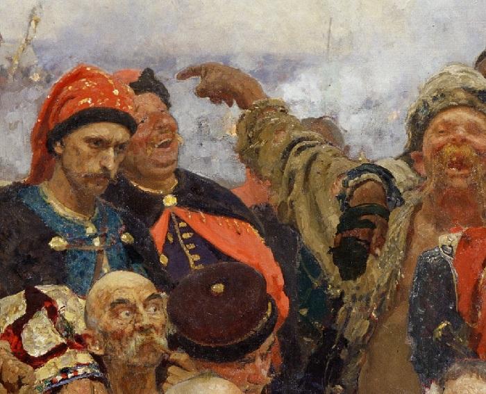 «Запорожцы». 1-й вариант. Фрагмент. Автор: Илья Репин.